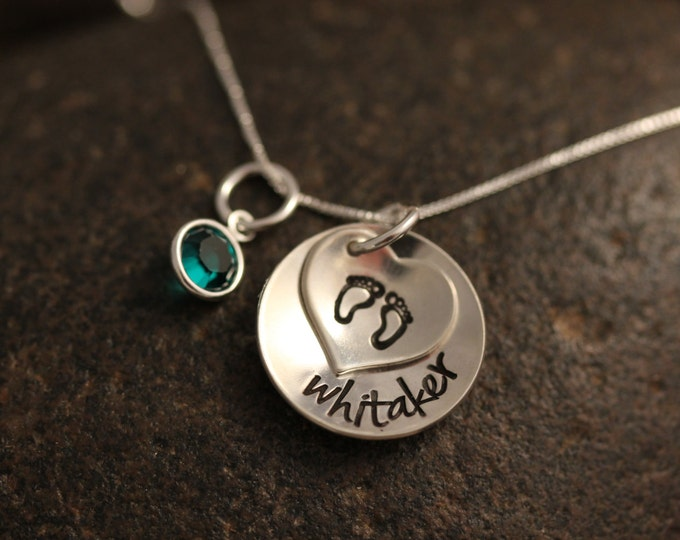 Custom Hand Stamped Sterling Silver Stacked mothers Necklace with Heart Baby Feet and Personalized Name