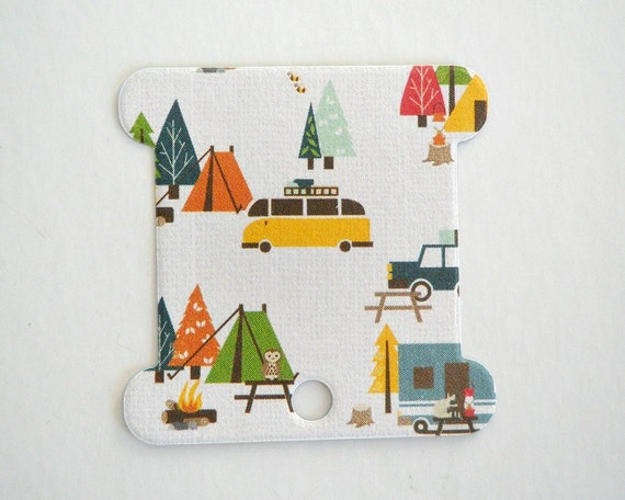 Camping Embroidery Thread Cards, Thread Holders / Set of 10