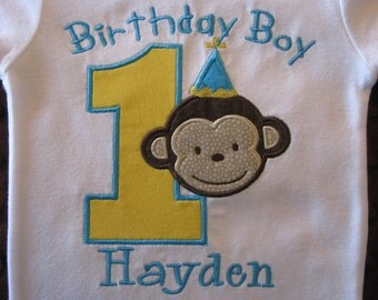 Mod Monkey First Birthday Bodysuit or T-Shirt Monogrammed yellow and Teal