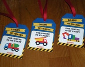 Dump truck construction : Personalized favor tags - Set of 10