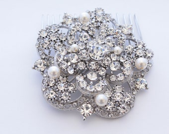 Rhinestone Hair Flower,Wedding hair accessories,Bridal hair piece,Wedding headpiece,Bridal hair clip,Wedding hair comb,Bridal comb,Wedding