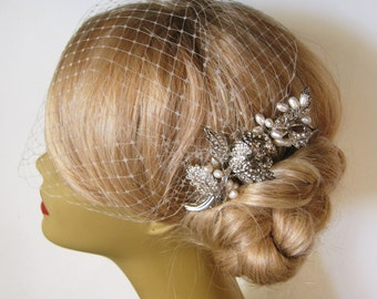 Birdcage Veil and a Hair Comb -(2 Items) - Bridal Headpiece,Rhinestone Bridal Comb, Blusher Bird Cage Veil  Natural Freshwater Pearl Head