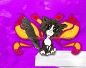 Frixie, feline pixie, watercolor print, Fairy cat, Adorable big eyed kitten artwork, yellow and fusha