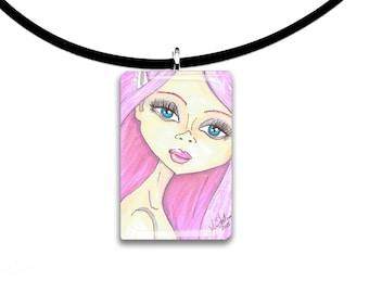 Bubblegum, pendant, hand painted watercolor, art print, big eyes girl pendant, pink hair