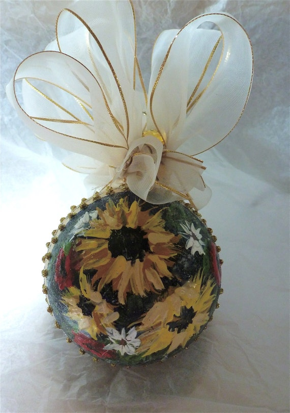 Hand Painted Floral Glass Ornament
