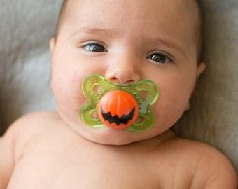 Halloween Jagged Jack Pumpkin Custom Hand Painted Pacifier by PiquantDesigns