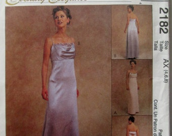 McCalls 2182 Women's 90s Evening Elegance Lined Gown Sewing Pattern Bust 29 30 31