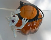 Pumpking Votive with Ooak Dragon Sculpture Fall Holiday Decoration
