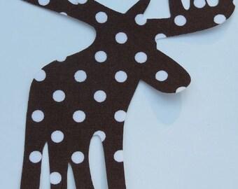 Iron or Sew On Brown Polka Dot Moose Applique
