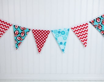 Aqua Blue and Red Christmas Fabric Banner, Penquin and Chevron Bunting Flag, 8 Pennant Flags