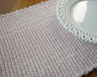 Handwoven Table Runner, Soft Pink and White, Rag Rug Style