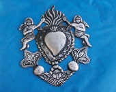 HUGE Tin/Silver Sacred Heart with Angels Milagro Ex Voto
