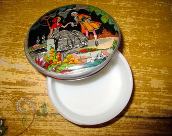 RARE Art Deco English GWENDA Butterfly Wing FOIL Backed Vintage Powder/Vanity Jar