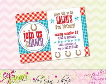 COWBOY Birthday INVITE -  COWGIRL Birthday Invite  - western party - farm party - cowboy party - custom invite