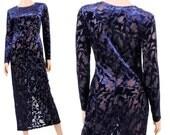 Vintage Maxi Dress - Velvet Burnout - Sheer Maxi Dress - 90s Grunge - Small - Medium