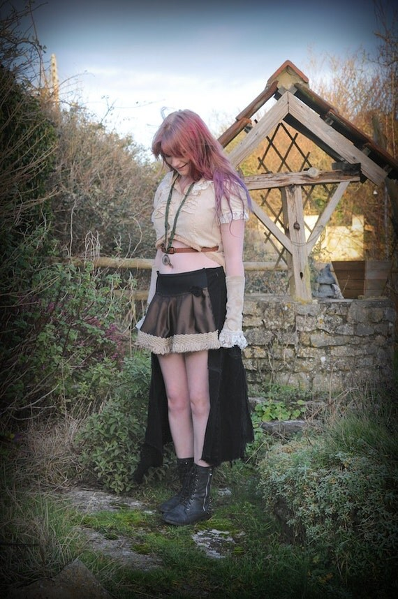 Black Steampunk Skirt Gypsy Pirate Skirt Steam Punk Clothing