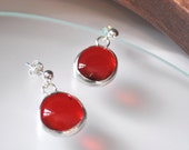 Red earrings,glass earrin...