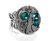 Steampunk Jewelry Ring Vintage Round Watch SOLDERED Steam Punk Ring Turquoise Stones Anniversary GORGEOUS - Jewelry by Steampunk Boutique