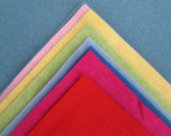 6 Sheets 18 x 18 in. - Wool Blend Felt Squares - Your Choice of Colors