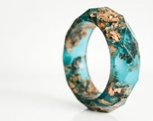 copper aqua multifaceted eco resin bangle with metallic copper flakes