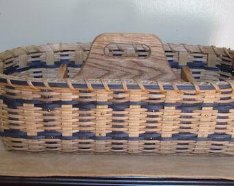 Silverware-Paper Plate Picnic Basket / Divided Carrier Basket / Handwoven Basket-Organizer Basket