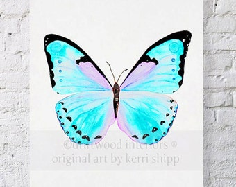 Butterfly in Aqua 8x10 - 'Petit Papillon' - Aqua Blue Butterfly Watercolor Print