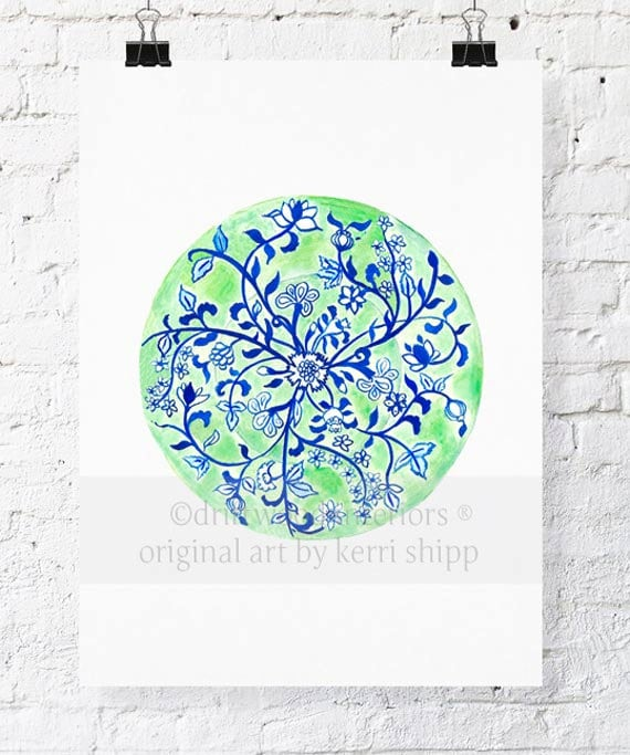 Green Chinoiserie Plate Watercolor Print - Blue and White Chinoiserie Watercolor Art