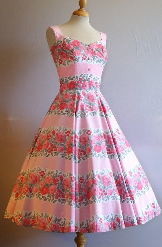 Stunning Vintage 1950s Horrockses Fashions Full Skirt Cotton