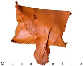 SALE Tan Leather Clutch Bag, Tobacco Tan Raw Edge Clutch, Medium Brown Leather Bag