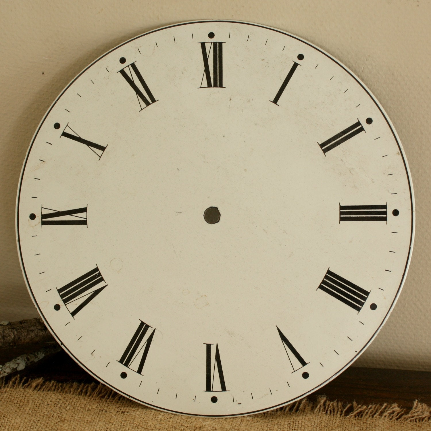 Large Antique Enamelled Wall Clock Face 11 1 2 Inches