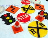 TRAFFIC SIGN themed EDIBLE Cupcake Toppers
