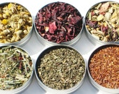 Organic Herbal Tea Sampler - 52mm tins - 6 herbal certified organic loose teas / no caffeine - soothing & relaxing tea gift set