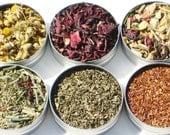 Organic Herbal Tea Sampler - 52mm tins - 6 herbal certified organic loose teas / no caffeine - soothing & relaxing tea gift set