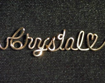 Name Necklace with Heart in 14k Gold Fill wire