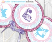 "Alice in Wonderland Party Printable 4"" Themed Party Circles by Cutie Putti Paperie"