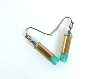 BULLET EARRINGS - brass bullets - turquoise and blue - bullet jewelry - Glammunition - eco-friendly/upcycled jewelry - under 20