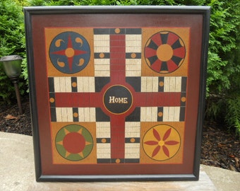 "19"", Parcheesi, Game Board, Game Boards, Folk Art, Wood, Wooden, Primitive, Board Game"