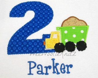 Boys Dumptruck Birthday Shirt Personalized Embroidered Applique Construction 1st 2nd 3rd Girls