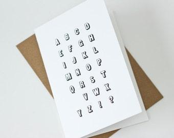 Missing You Alphabet Letterpress card