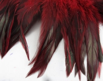 Feathers Red badger saddle rooster feathers QTY 50 5 6 inches craft feathers K37