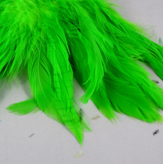 Schlappen feathers lime green  Strung  Dyed 6 to 8 inches  SCH-18 craft feathers real feathers