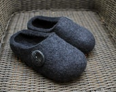 Hand Felted Soft Wool  Slippers . Dark Gray with Lucky button.  Size EU 38 ready to ship.