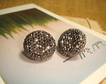 Glitter Series - Metallic Gray Big Rhinestone Post/Stud Earrings (E202)