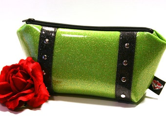 Lime Green Glitter Vinyl Makeup Bag with Your Choice of Vinyl Trim, Rockabilly Bag, Sparkle Cosmetic Pouch, Retro - MADE TO ORDER