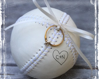 Baseball Ring Bearer Pillow Alternative - Baseball Theme Wedding - Personalized - MLB Fan - Weddings Sports Decor Play