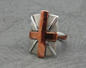Sterling Silver and Copper Union Jack Ring
