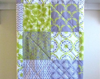 Modern Baby Quilt - Impressions - Minky Back, Organic Flannel, Gray, Lime Green, White, Crib Bedding, Nursery, Baby Bedding