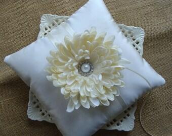 Wedding Ring Bearer Pillow - Ivory Spider Mum on Ivory Tafetta