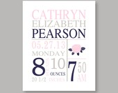 Canvas Art, Birth stats, baby girl nursery, pink nursery art, baby art, birth stats, nursery decor, Mallory colors,  YassisPlace