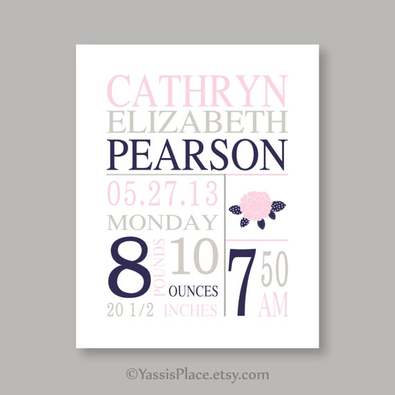 Items Similar To Canvas Art Birth Stats Baby Girl Nursery Pink Nursery Art
